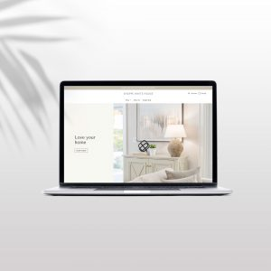 A mockup of a minimal Shopify website design